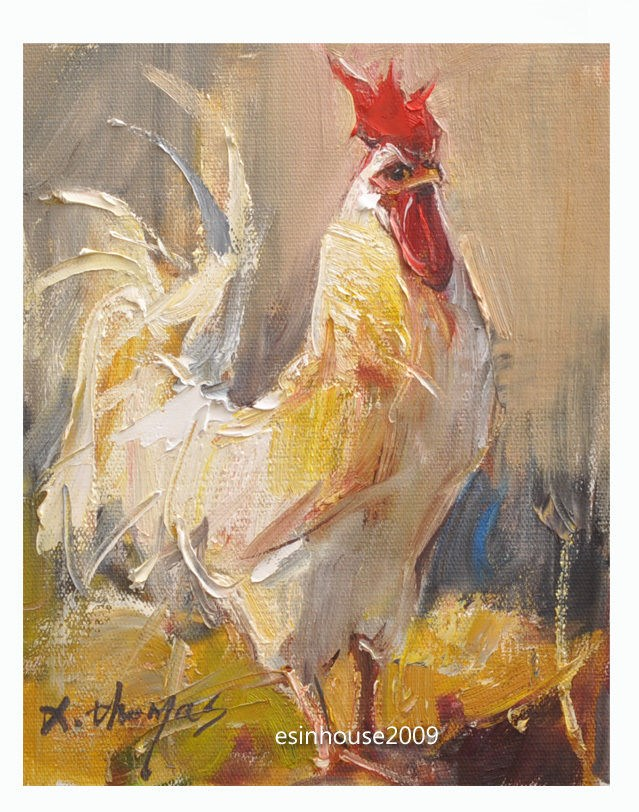 """8x10""Original Oil Painting Rooster Art Chicken Hen Barn impressionism Artwork"" original fine art by Thomas Xie"