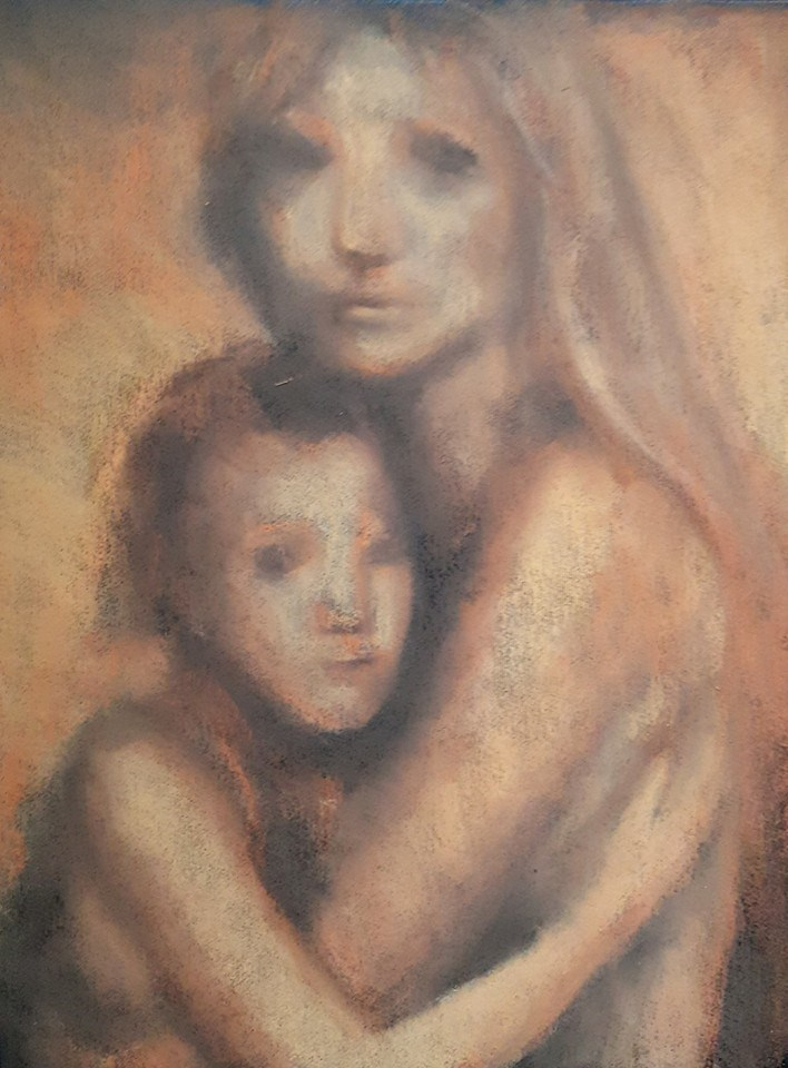 """Mother and child"" original fine art by Rentia Coetzee"