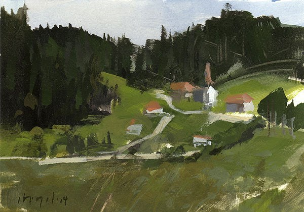 """Mountain Village - Alla Prima"" original fine art by David Lloyd"