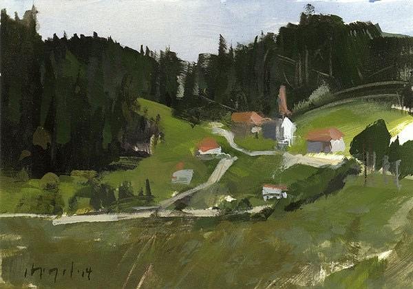 """""""Mountain Village - Alla Prima"""" original fine art by David Lloyd"""