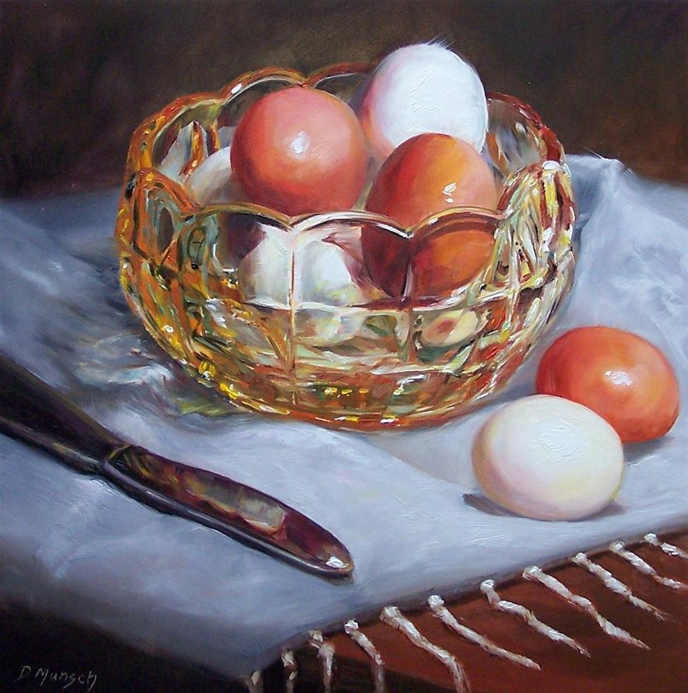 """Eggs in Glass Bowl"" original fine art by Donna Munsch"
