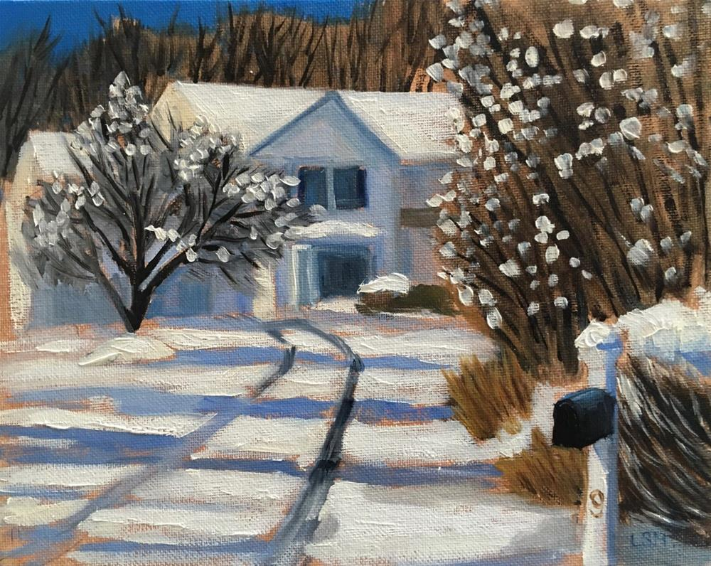 """Winter at Hollie's House"" original fine art by Linda Marino"