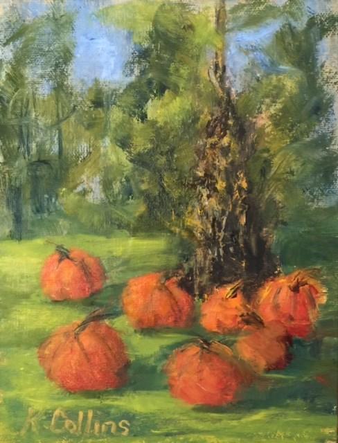 """Pumpkin Patch"" original fine art by Kathy Collins"