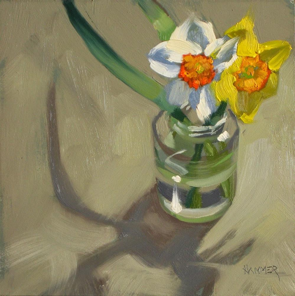 """Spring in a jar 6x6 oil"" original fine art by Claudia Hammer"