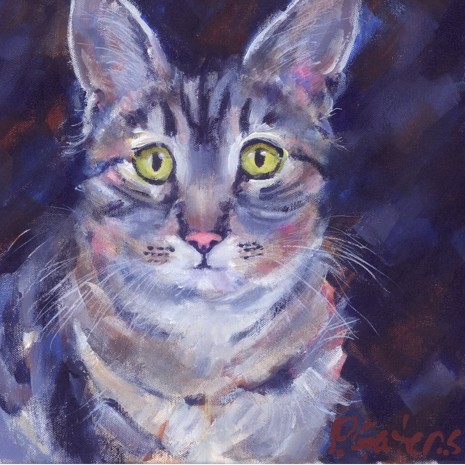 """Ashby the Tabby"" original fine art by Pamela Gatens"