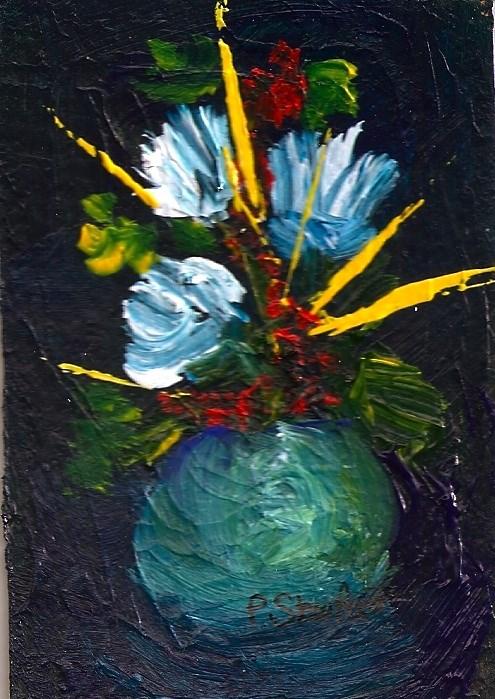"""ACEO Yellow Spikes Fantasy Flowers Dramatic Original Art OOAK SFA Penny StewArt"" original fine art by Penny Lee StewArt"