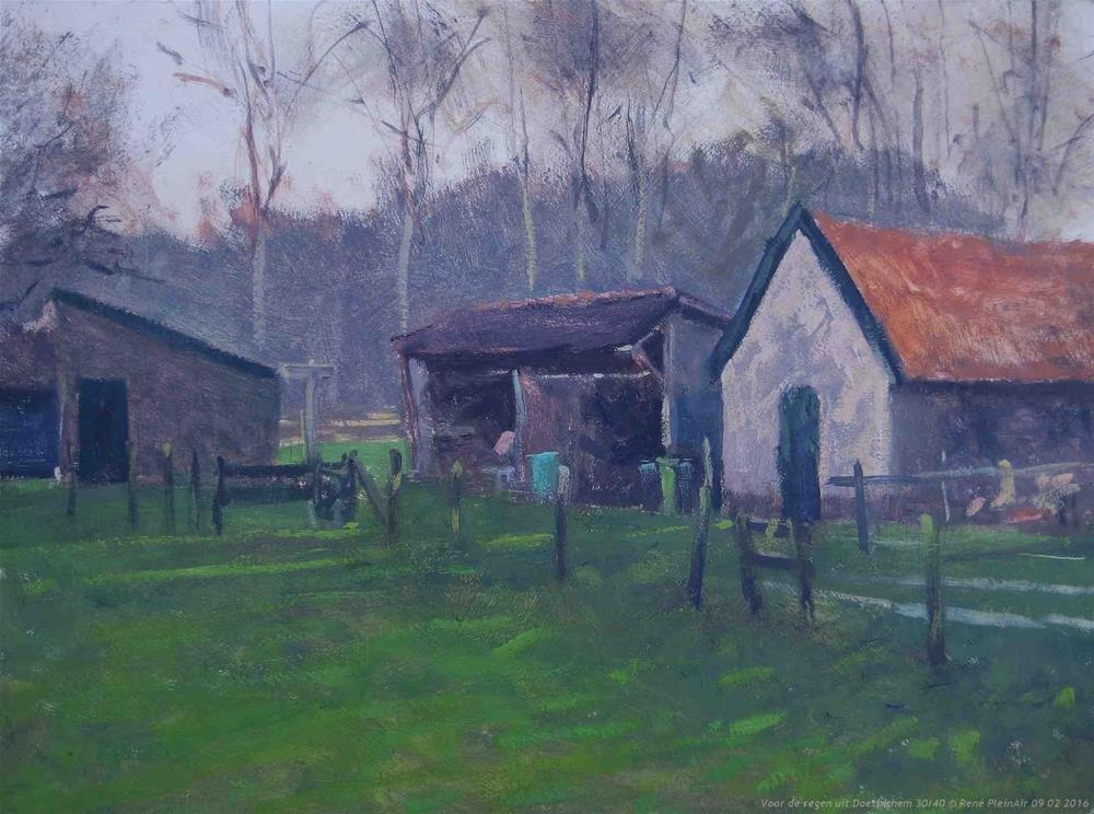 """Befor the rain sets inn Doetinchem, The Netherlands"" original fine art by René PleinAir"