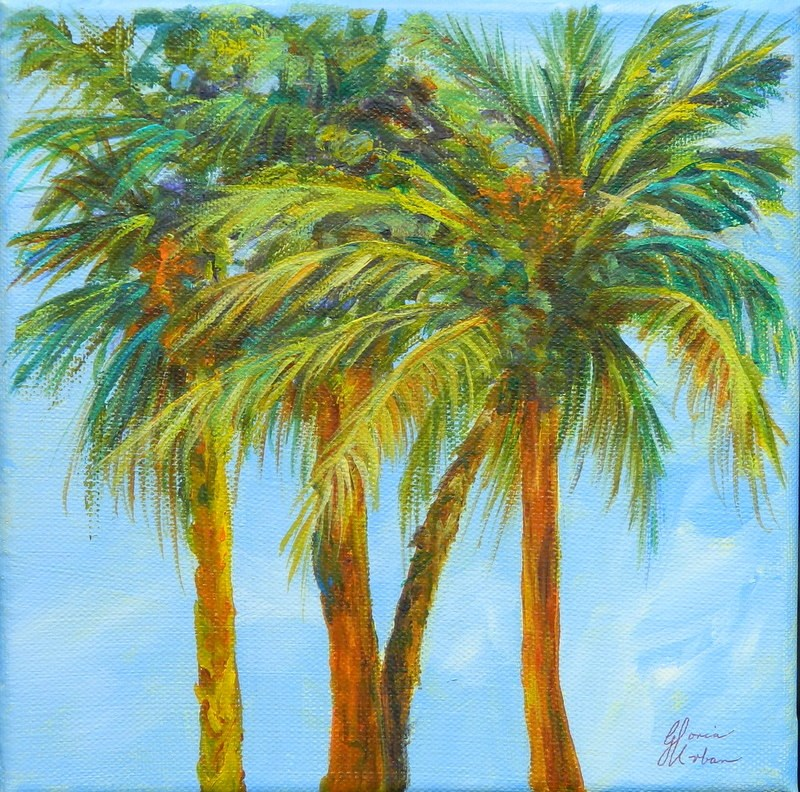 """4 Palm Trees"" original fine art by Gloria Urban"