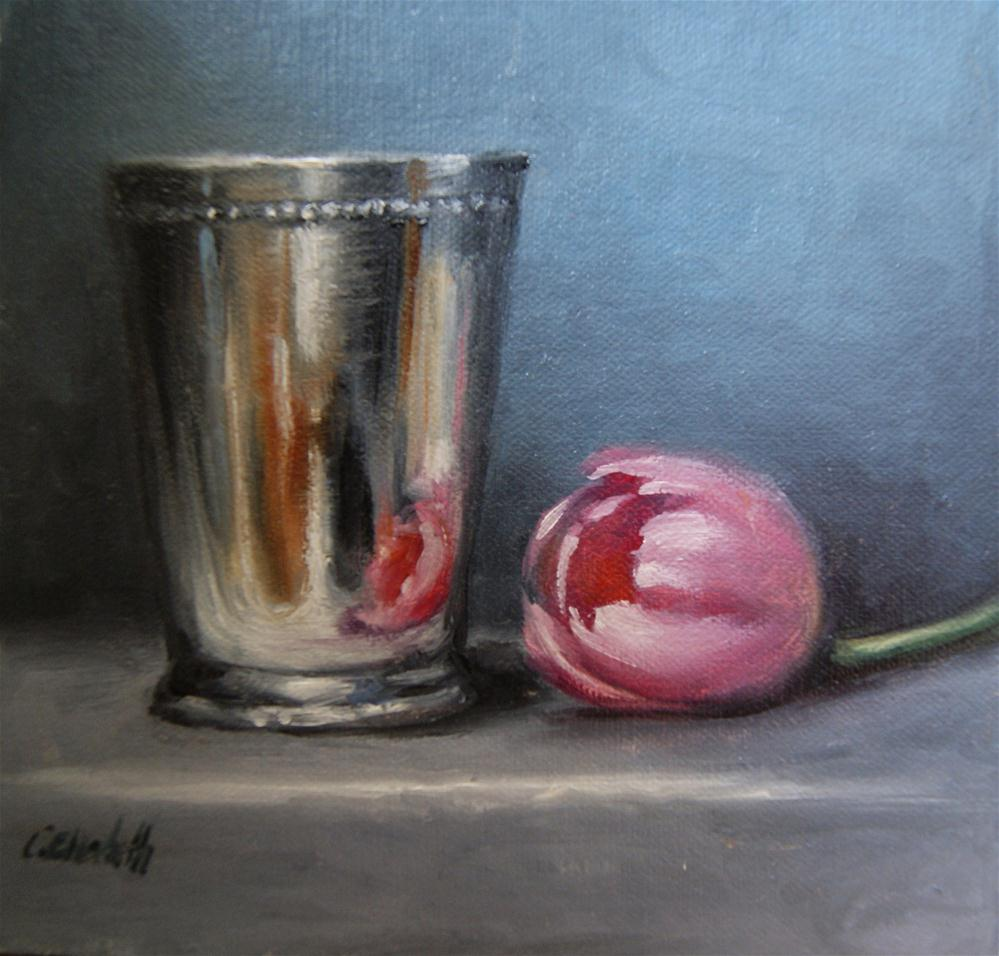 """Mint Julep Cup and Pink Tulip Still Life No.2"" original fine art by Carolina Elizabeth"