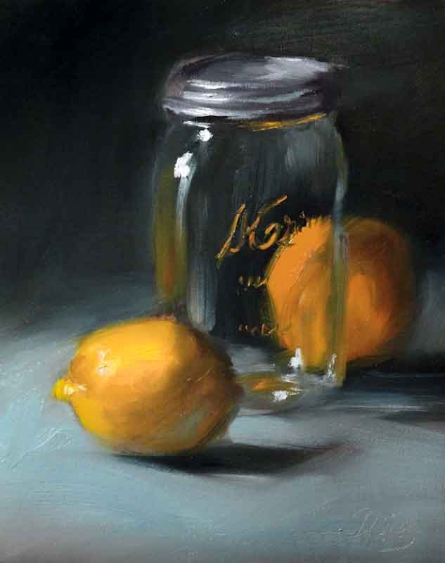 """Citrus and a Mason Jar"" original fine art by Pamela Blaies"