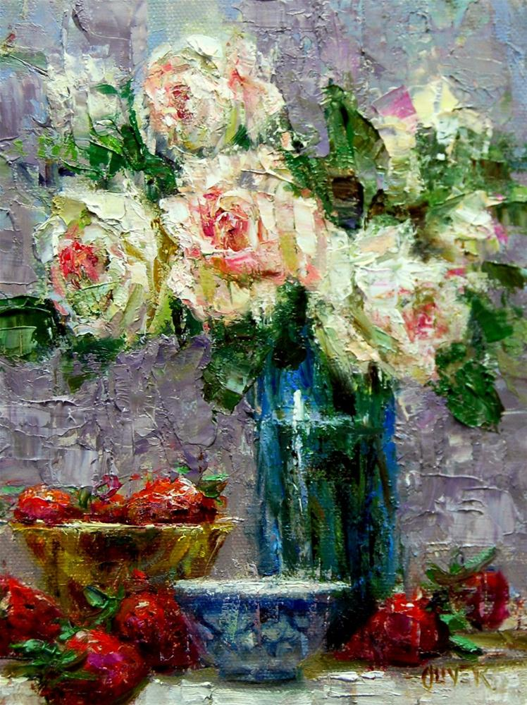 """Strawberries and Roses"" original fine art by Julie Ford Oliver"