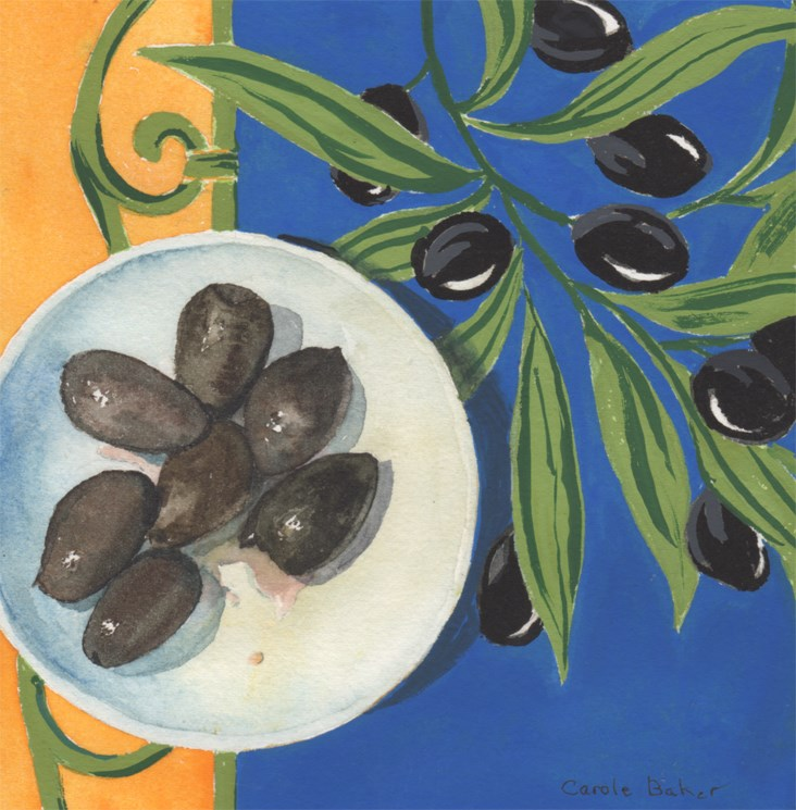 """Black Olives"" original fine art by Carole Baker"