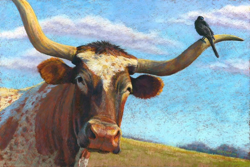 """Longhorn and Friend"" original fine art by Rita Kirkman"
