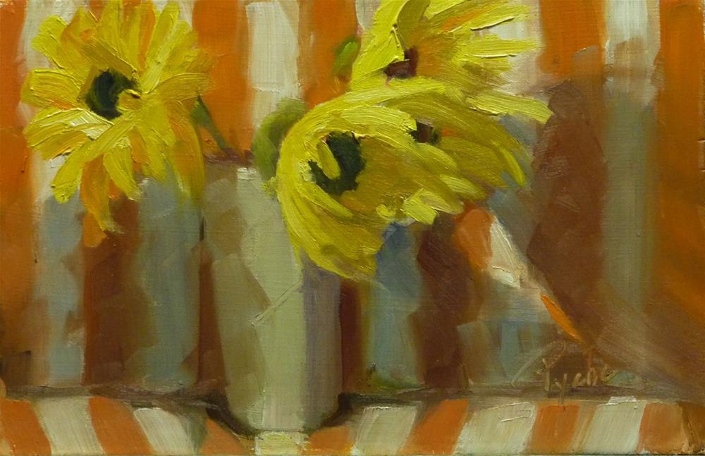 """Sunflower and Orange Stripes 6x9.25"" original fine art by Mary Pyche"