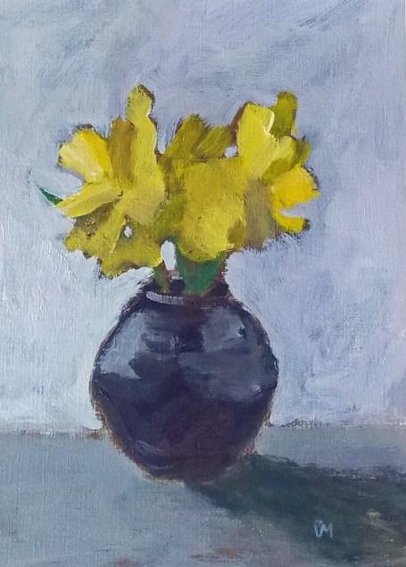 """Daffodils in Black"" original fine art by Pamela Munger"