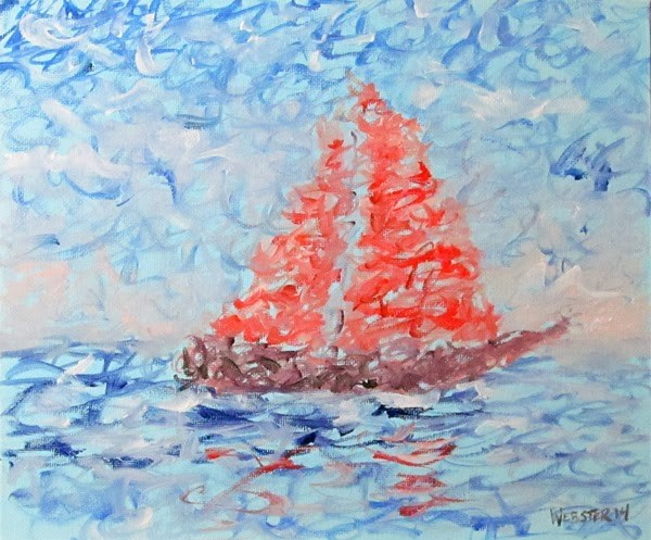 """Mark Adam Webster - Impressionist Sailboat Oil Painting"" original fine art by Mark Webster"