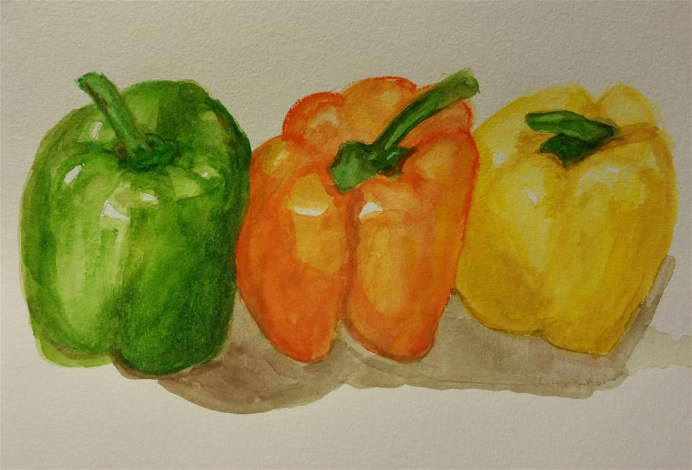 """3 Peppers Watercolor"" original fine art by Jo Allebach"
