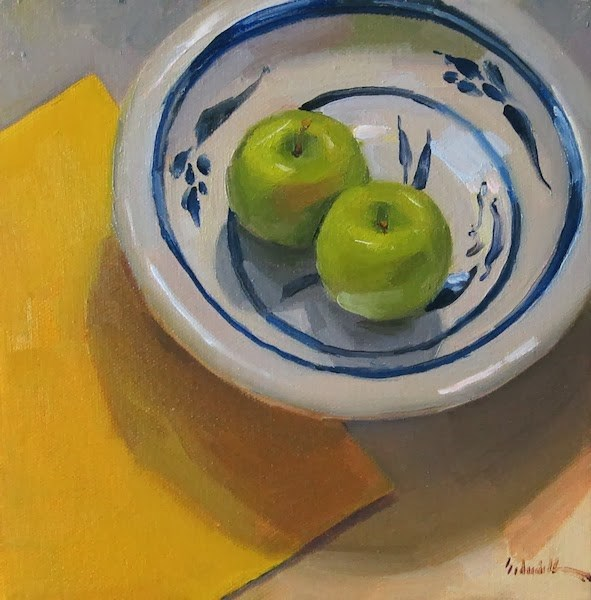 """Two Apples, Yellow"" original fine art by Sarah Sedwick"