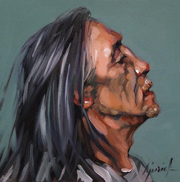 """100+ Faces, No. 114"" original fine art by Karin Jurick"