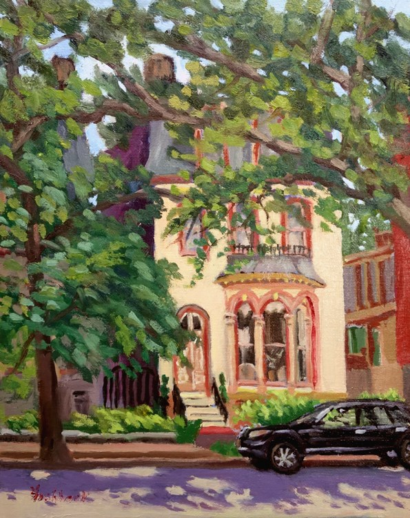 """Lafayette Park Home, en plein air"" original fine art by Daniel Fishback"
