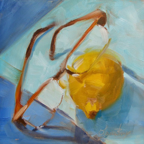 """Yellow and Blue 317"" original fine art by Laura  Buxo"