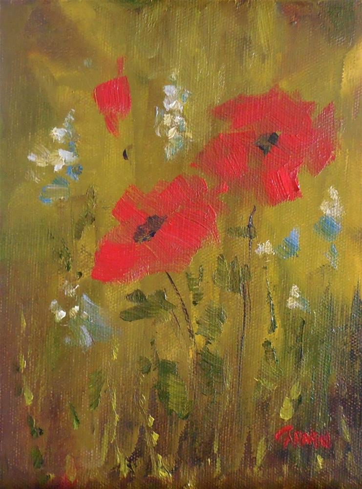 """Field Flowers, 6x8 Oil on Canvas Panel Floral Daily Painting"" original fine art by Carmen Beecher"