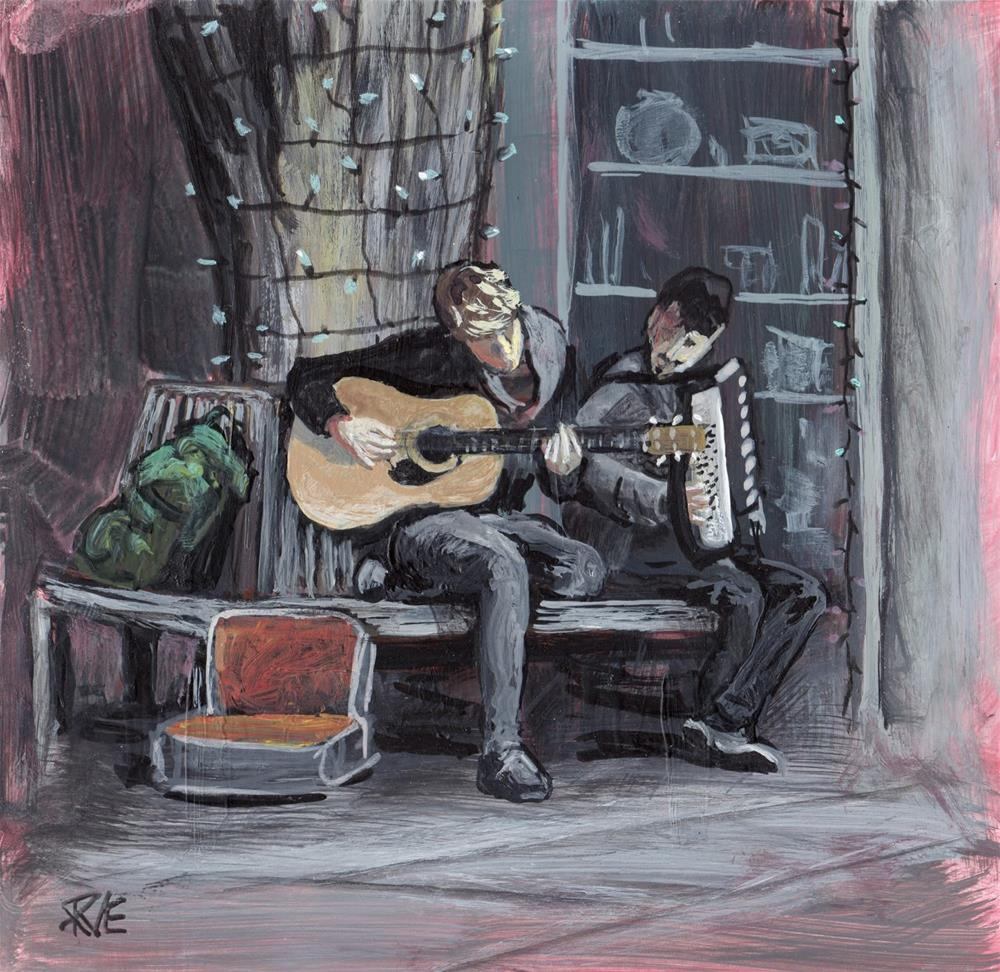 """Buskers on the Avenue"" original fine art by Ruth Van Egmond"