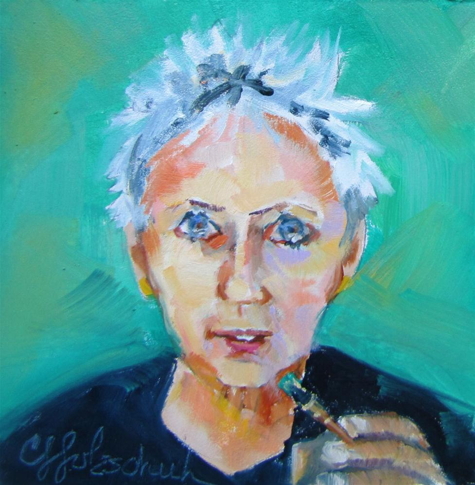 """Self Portrait with...  4x4 oil  sold"" original fine art by Christine Holzschuh"