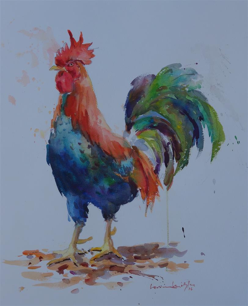 """""""Old Man Rooster"""" original fine art by Lorraine Lewitzka"""