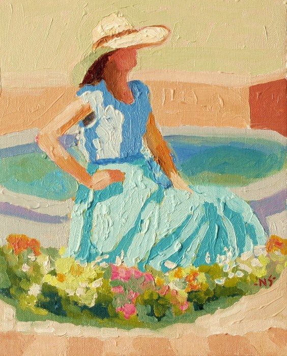 """The Girl at the Fountain 12043 (framed)"" original fine art by Nancy Standlee"