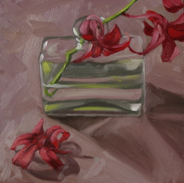 """Red orchids 6x6 oil on gessobord"" original fine art by Claudia Hammer"