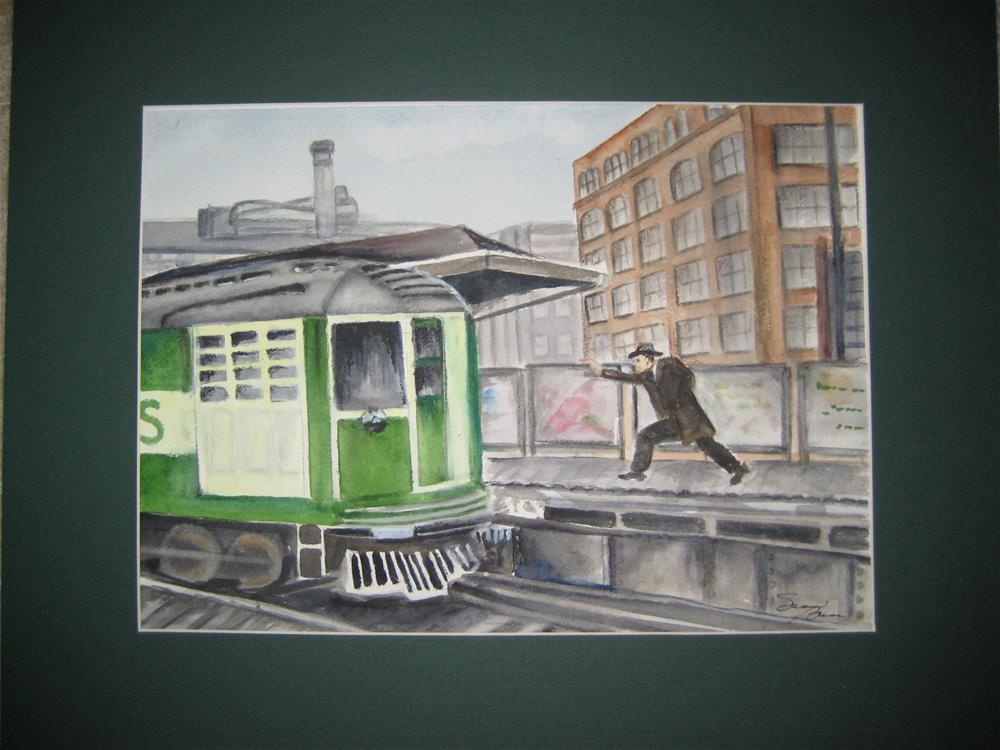 """Wait1  Chicago El"" original fine art by Susan Brens"