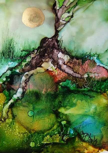 """ROOTS_4.75 x 3.5_ink on yupo_landscape"" original fine art by Donna Pierce-Clark"