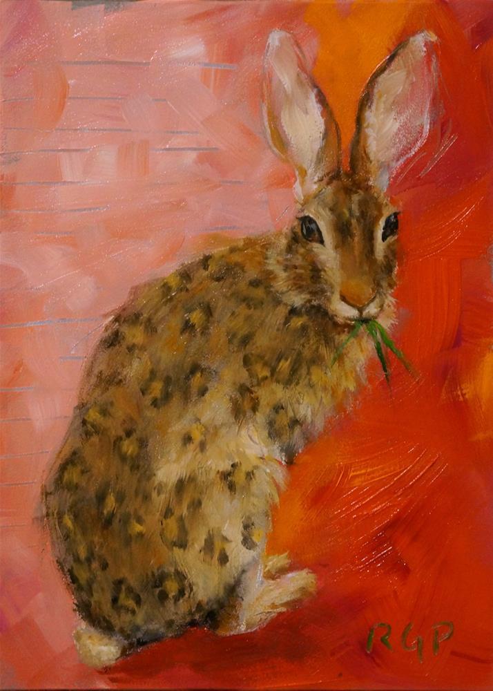"""""""Snacking in a Leopard Coat"""" original fine art by Rhea  Groepper Pettit"""