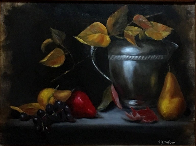 """Silver Pitcher and Pears"" original fine art by Mary Datum"