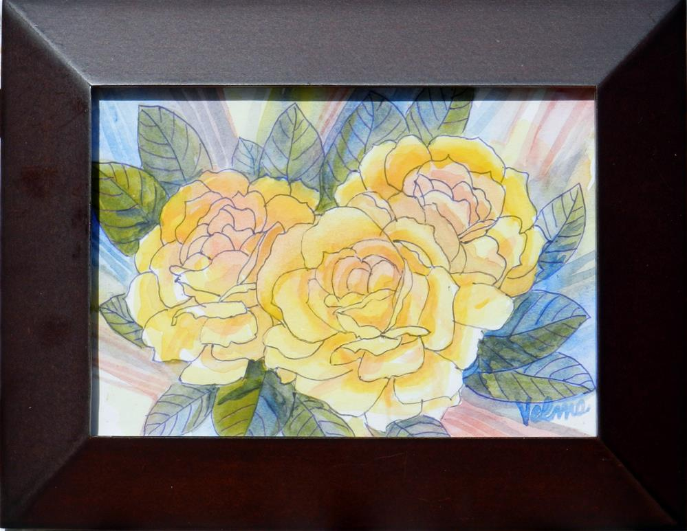 """Three Yellow Roses"" original fine art by Velma Davies"