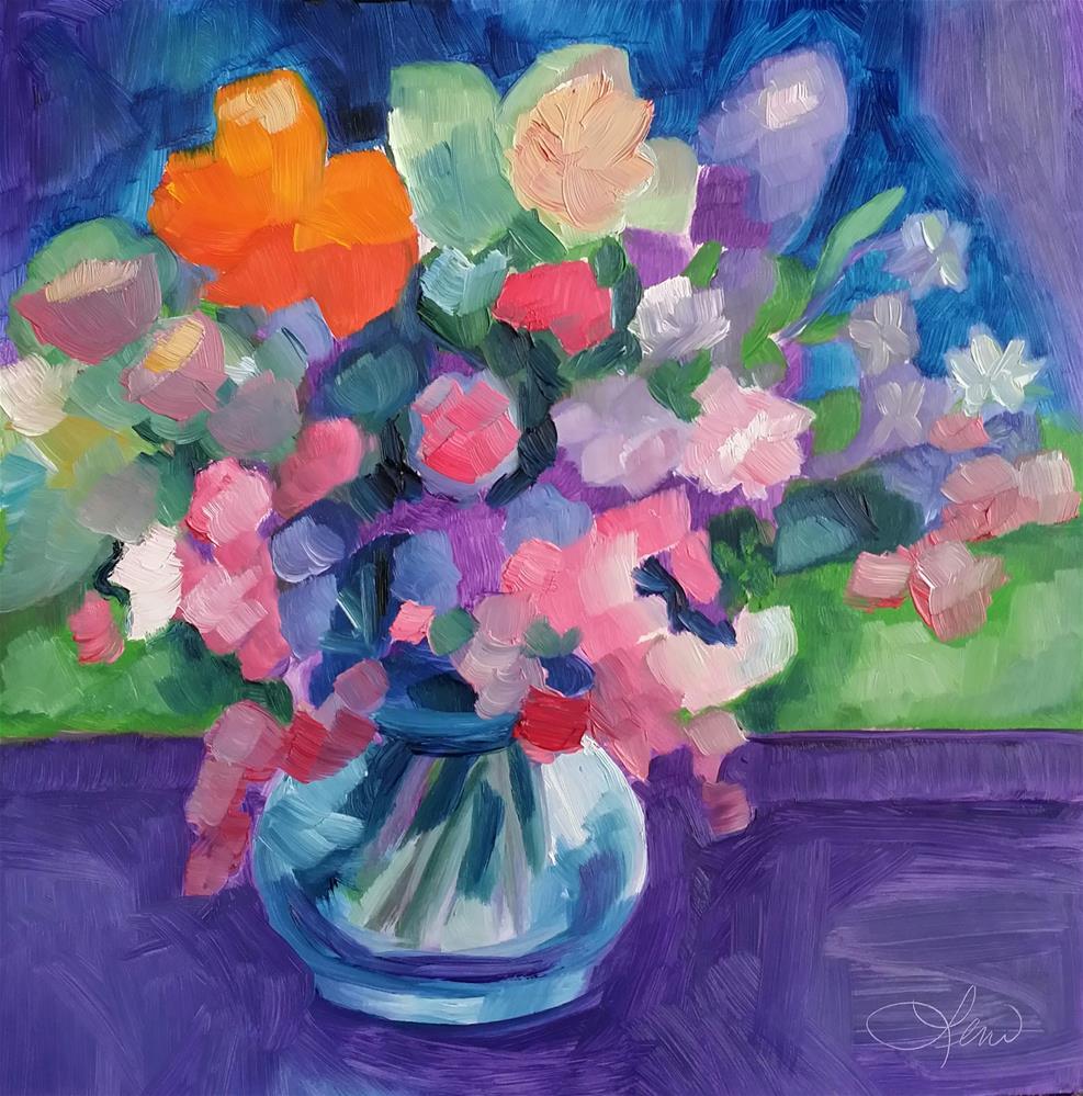 """Country Flowers"" original fine art by Leni Tarleton"