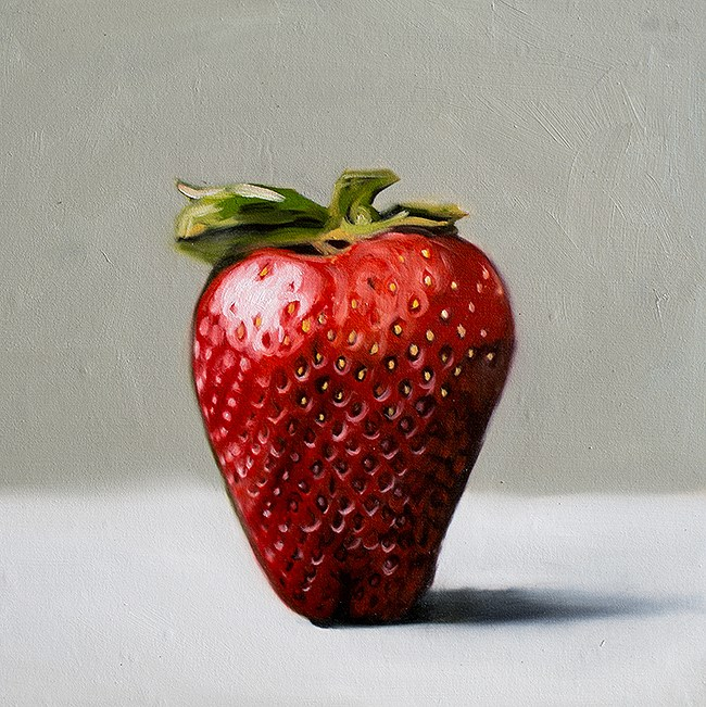 """Single Strawberry"" original fine art by Lauren Pretorius"