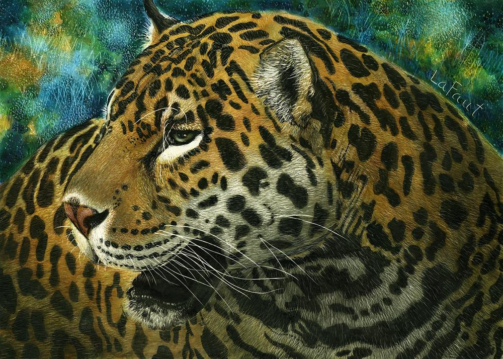 """Jaguar: Amazon Series #4"" original fine art by Sandra LaFaut"