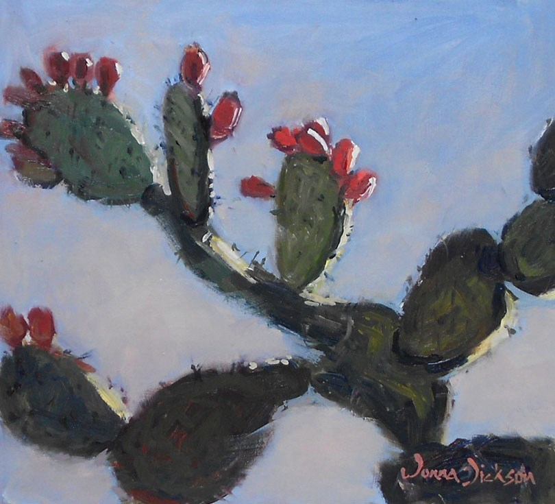 """Nopales at Dawn"" original fine art by Donna Dickson"
