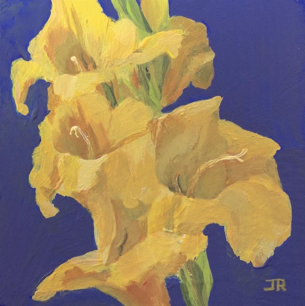 """Yellow Gladiolus"" original fine art by June Rollins"
