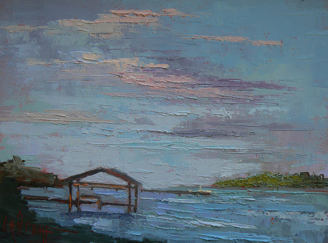 """Tropical Landscape, Oil, Palette Knife, Dance of the Waves 6x8"" original fine art by Carol Schiff"