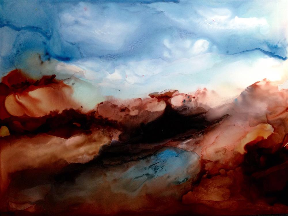 """Alcohol Ink Art.  Mystic Hills"" original fine art by Korinne Carpino"