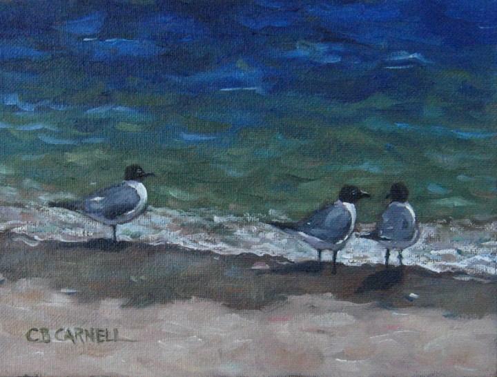 """Gull Talk"" original fine art by Claire Beadon Carnell"