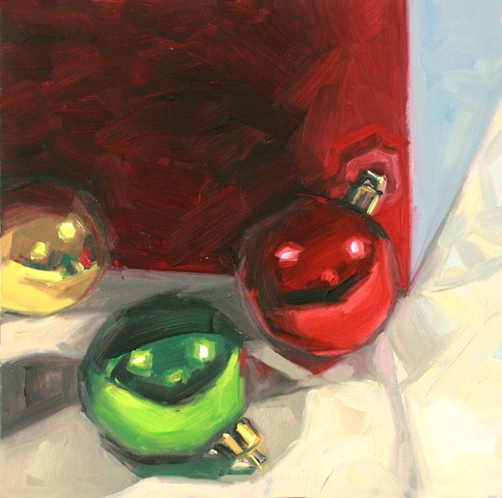 """Holiday Cheer: Christmas 'Round the Corner"" original fine art by Nealy May Riley"