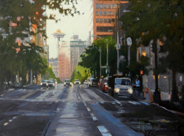 """Space Tunnel Seattle city, urban oil painting by Robin Weiss"" original fine art by Robin Weiss"