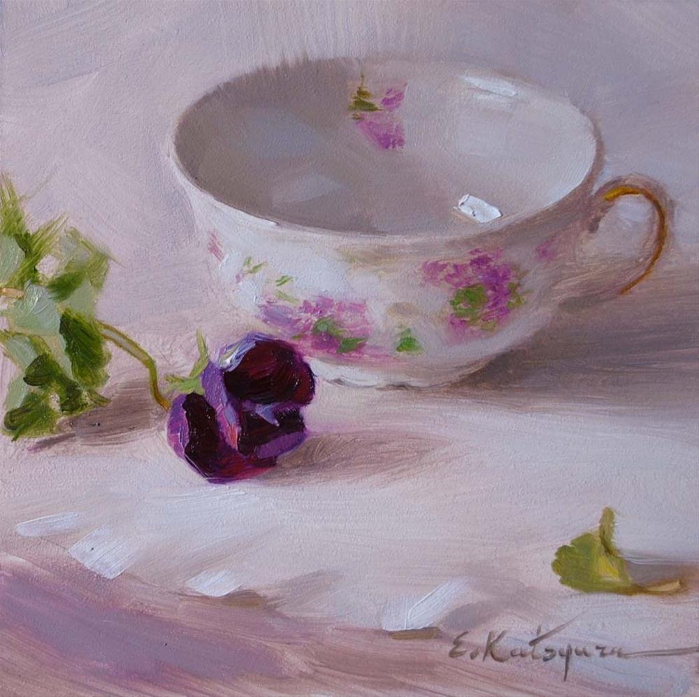 """Teacup and Pansy"" original fine art by Elena Katsyura"