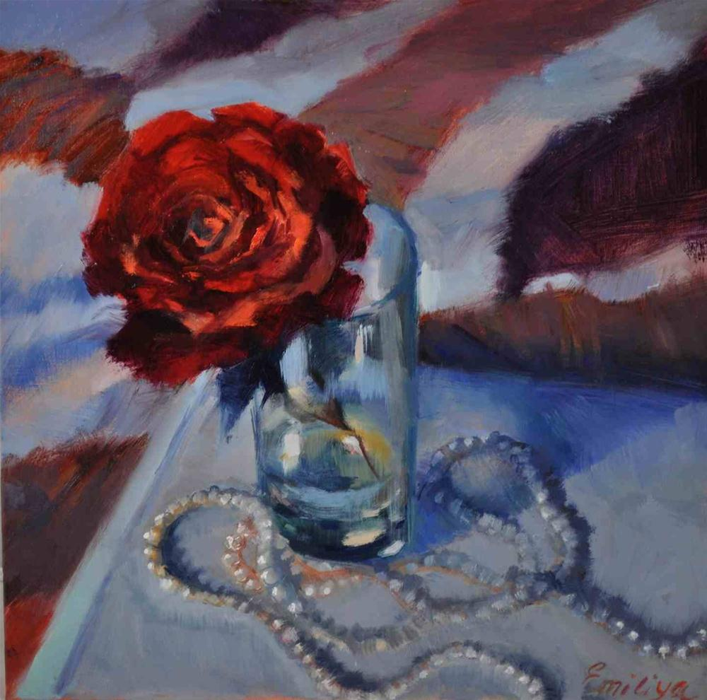 """RETRO oil /linen 10x10"" original fine art by Emiliya Lane"