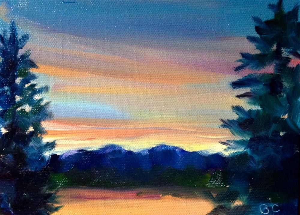"""sunrise over Sundi Lake"" original fine art by Bobbie Cook"