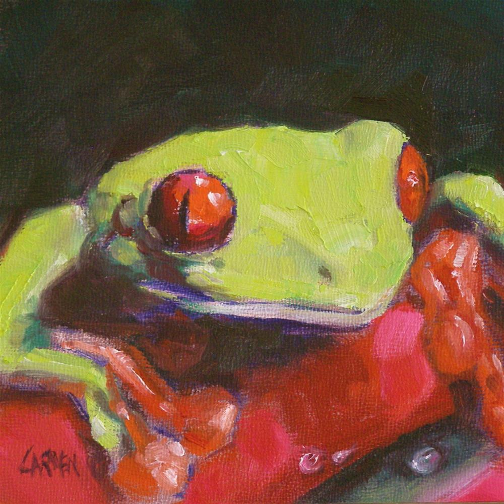 """""""Tree Frog, 6x6 Oil on Canvas"""" original fine art by Carmen Beecher"""